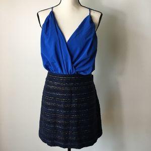 Ann Taylor LOFT Textured Gold Stripe Skirt